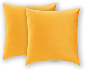 COMFORTLAND 2 Pack Decorative Throw Pillow Covers, Square Soft Luxury Velvet Cushion Shams, 18x18 Solid Pillow Cases Set for Farmhouse Bedroom Living Room Outdoor Indoor Decoration, Orange Yellow