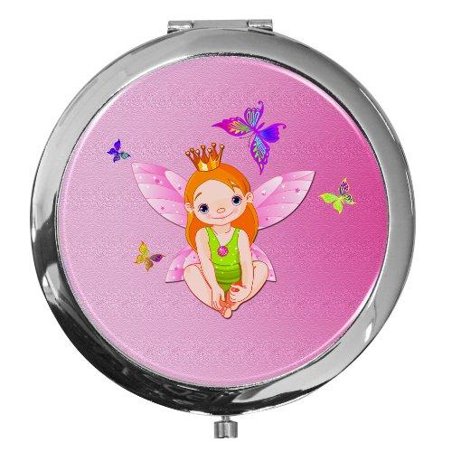 metALUm Taschen - Spiegel aus verchromten Metall mit kleiner Fee vor pinkfarbenem Hintergrund