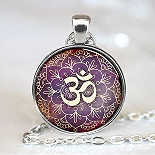 Om Pendant , Lotus Flower Necklace , Namaste Yoga Jewelry , Silver (PD0535S)