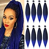 Pre Stretched Braiding Hair Blue 26inch -8packs Hot Water Setting Braiding Hair Omber Professional Braiding Hair Synthetic Fiber Crochet Braiding Hair Extension(T1B/Blue,26',8packs)