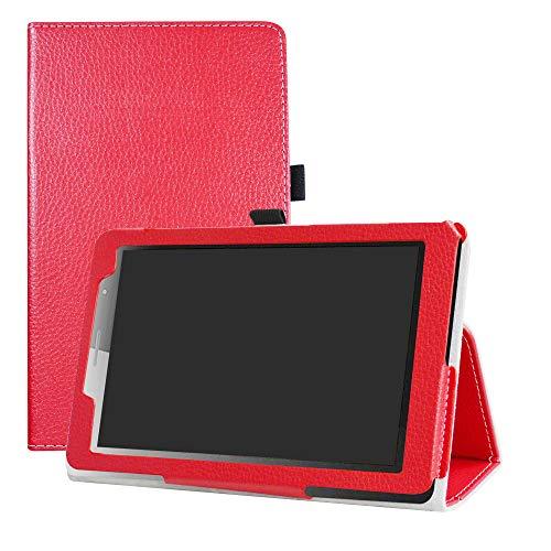 LFDZ Huawei MediaPad T3 Funda, Soporte Cuero con Slim PU Funda Caso Case para 8' Huawei MediaPad T3 8.0 Tablet,Rojo