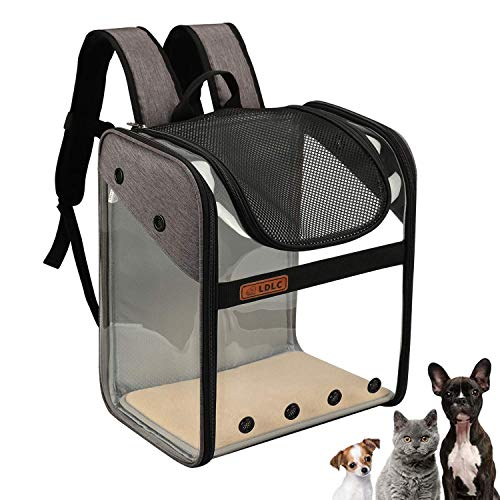 Zaino per trasportino per animali domestici Cani di piccola media Cani Borsa da trasporto per gatti Gabbia completamente ventilata Pieghevole Trasparente Zaino Design con apertura superiore (grigio)