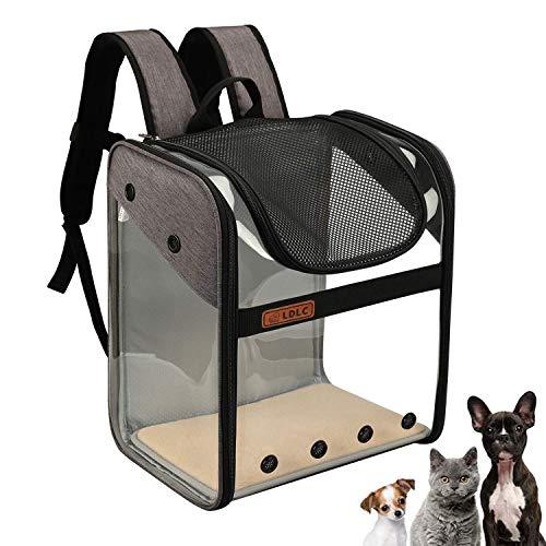 WEECOC Zaino per trasportino per animali domestici Cani di piccola media Cani Borsa da trasporto per gatti Gabbia completamente ventilata Pieghevole Trasparente Zaino Design con apertura superiore