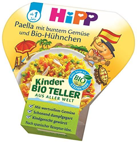 HiPP Bio für Kinder Teller aus aller Welt - Paella mit buntem Gemüse und Hühnchen, 6er Pack (6 x 250 g)