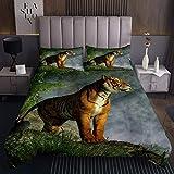 Tiger Tagesdecke 240x260cm Wildtier Themenmuster Steppdecke 3D Tierwelt Stil Bettüberwurf für Kinder Erwachsene Naturthema Wohndecke Ultra weich Raumdekoration