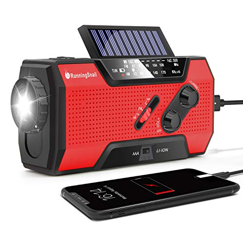RunningSnail Solar Crank NOAA Weather Radio for Emergency with AM/FM, Flashlight, Reading Lamp and 2000mAh Power Bank (Red)
