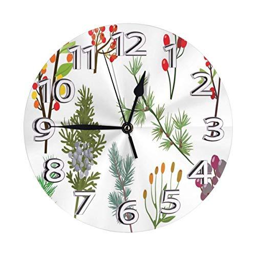 GOSMAO Reloj de Pared Redondo, Ramas de Bosque Libres, Reloj de decoración del hogar para Sala de Estar, Dormitorio, Oficina