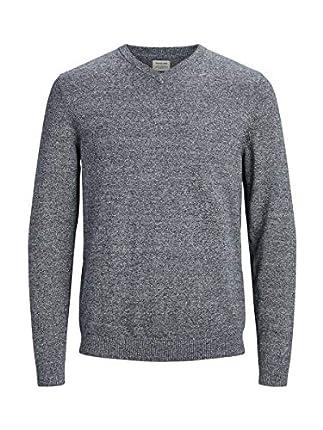 Jack & Jones Jjebasic Knit V-Neck Noos suéter, Gris (Navy Blazer Detail: Twisted with Jet Stream), Large para Hombre