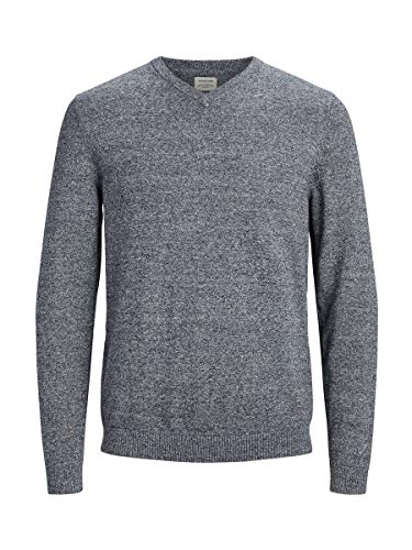 Jack & Jones Jjebasic Knit V-Neck Noos suéter, Gris (Navy Blazer Detail: Twisted with Jet Stream), Large para Hombre