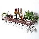 WEIB-botellero Estantes de Vino Soporte de Pared de Metal Vintage, Soporte de Almacenamiento de Vino de exhibición Vintage Soporte de Copa de Vino Colgante para Debajo del gabinete, Cocina, Bar