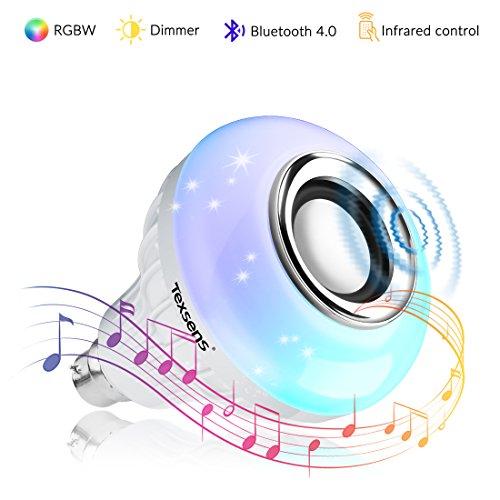 Bombilla Inteligente de altavoz Bluetooth, Texsens Música Lámpara Smart LED Bombilla E27 RGB Color Luz como Alexa Echo de altavoz con Control remoto para iOS y Android
