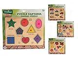 Globo Juguetes globo–3662529,8x 22,4x 0,8cm, 4surtidos Legnoland Puzzle de madera con Pins