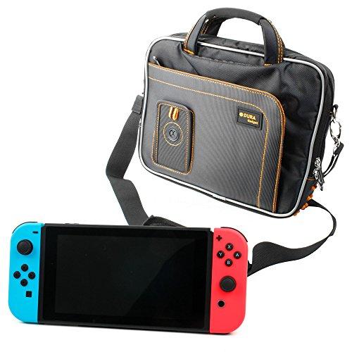 DURAGADGET Sacoche de Transport Noir et Orange Compatible avec Console de Jeux Nintendo Switch écran 6,2