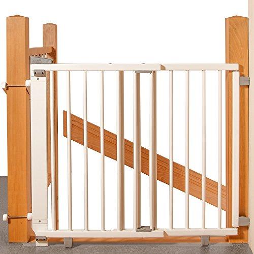 Geuther - Treppenschutzgitter ausziehbar 2733+, für Kinder/Hunde, Schrauben/Klemmen am Geländer, verstellbar, Holz, weiß, 67 - 107 cm, TÜV geprüft