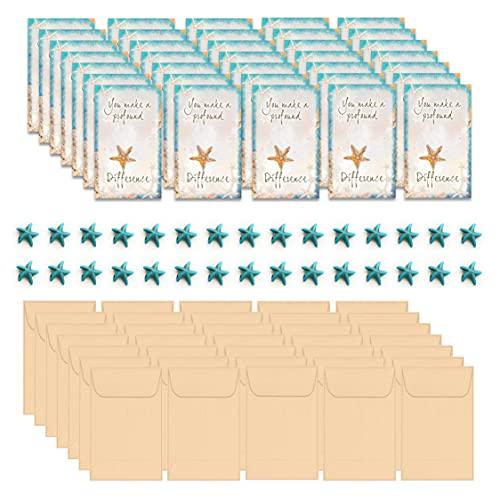 Smiling Wisdom - The Starfish Story Mini Small Keepsake Appreciation Notecards, Envelopes, and Starfish Bead - Bulk 30 Miniature Color Folded Notecard Gifts - Caregivers, Students, Teachers - Blue