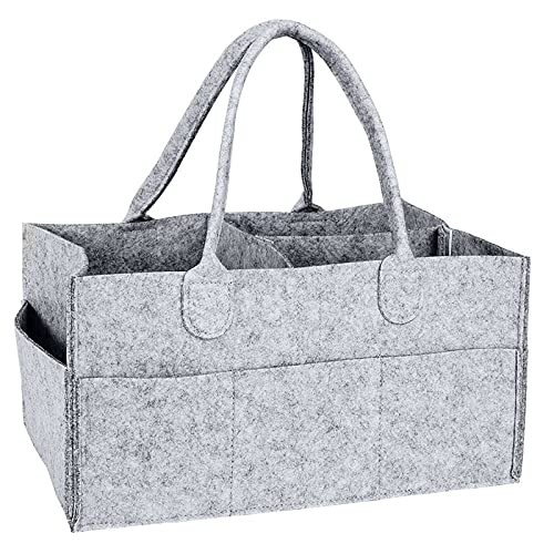 通用 Organizador de carrito de pañales para bebés, bolsa de almacenamiento de fieltro plegable para viajes en automóvil, carrito de pañales para bebés, canasta de guardería (Gris claro)