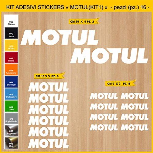 Pimastickerslab Aufkleber Stickers MOTUL - KIT 1-16 PCS - Moto Decal Bike-Motorrad- Cod. 0757 (010 Bianco)