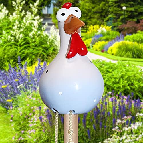 Adorno de cerámica con forma de gallina para jardín, divertido jardín, decoración...