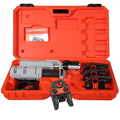 """Preisvergleich Produktbild Rothenberger elektrohydraulische Fitting - Pressmaschine ROMAX AC ECO Presskontur """"V"""" Set mit Pressbacken"""