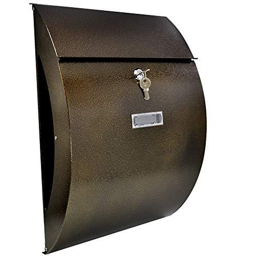 Designer Briefkasten Wandbriefkasten inkl. Zeitungsfach - wetterfest dank Pulverbeschichtung, Bronze Antik, Groß Elegant, Verzinktes Blech Post Mailbox, 3 Schlüsseln, C4 Einwurf-Format, Namensschild