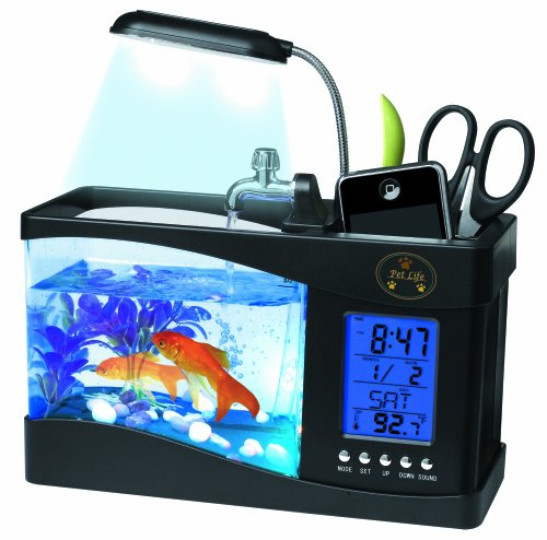 PET LIFE All-In-One Digital Desktop Aquarium and Stationary Office Organizer, One Size, Black