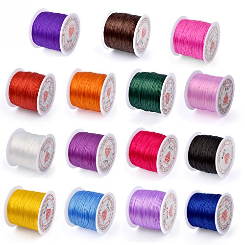 Pandahall 25rolls/Bag 0.8mm Elastic Stretch Fibre Wire Jewelry Bracelet Crystal String Cords 10m/roll Mixed Color