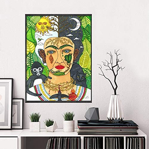 Jphozup Girl Room Decoration Canvas Printed Pictures Wall Art Nordic Paintings Watercolor Creative Women Home Decoration Module Poster Living Room Frame