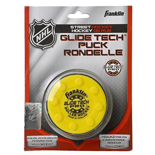 FRANKLIN - Streethockey-Puck Glide Tech Pro NHL I Puck für Roller-& Inlinehockey I Straßenhockey-Puck I für alle Oberflächen geeignet I PVC Puck mit niedriger Reibung I hohe Geschwindigkeit - Gelb