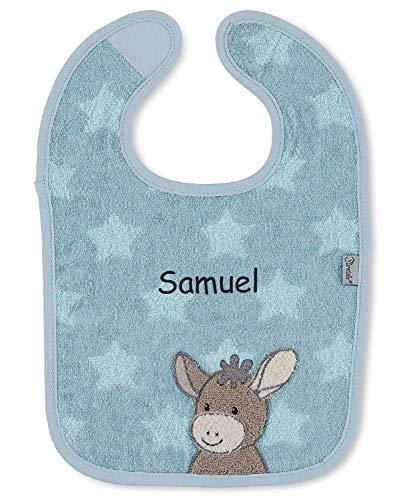 Sterntaler Emmi Lätzchen mit Namen bestickt, Baby & Kleinkind Spucktuch, Jungen Klettlätzchen Halstuch/Babylätzchen personalisiert (Esel Emmi Blau)