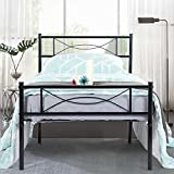 GIME Bed Frame Twin Size for Kids/Student, Easy Set-up Premium Metal Platform Mattress Foundation/Box Spring Replacement with Headboard and Footboard, Under-Bed Storage, Enhanced Sturdy Slats(White)