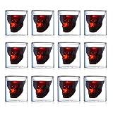 Ledph Vasos con Forma Calavera, Cristales De Doble Capa Whisky Copa, Basos para Wiskey Brandy Coctel, Wiski Conac Cocktail Moderno Cristales, Accesorios per Whiskey Martini Cocteleria,150ml,12pcs