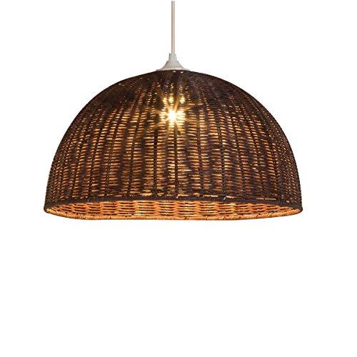 LUSSIOL Luminaire Jacinthe 1/2 sphère, suspension rotin, 60 W, marron, ø 30 x H 16 cm