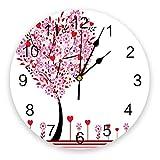 Reloj de Pared Redondo silencioso Árbol de Amor Rosa con corazón de Amor Rojo Flores y Ramas Reloj de Pared Decorativo de Cuarzo con Pilas para Oficina, Cocina, Sala de Estar