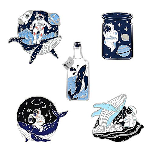 Astronaut And Whale Enamel Pin Set, Cartoon Space Lapel Brooches Novelty Planet Badges Bottle Enamel Pins for Backpack Jeans Jacket (Silver)