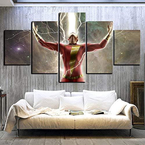 chgznb Cuadro sobre Lienzo 5 Piezas HD póster de película imágenes Billy Batson capitán Marve Shazam Cuadros lienzos Cuadros Cuadros de la Liga de la Justicia