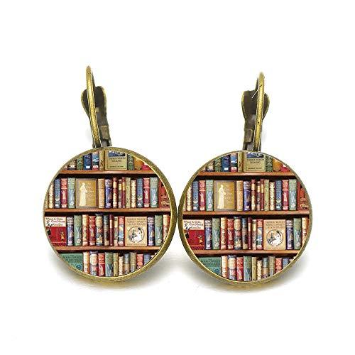 Retro Bücher Foto Ohrringe Kreativ Bücherregal Gedruckt Glas Kuppel Ohrringe Bibliothekar Schriftsteller Student Lehrer Buch Nerd Geschenk