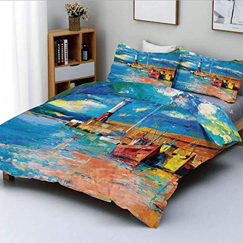 Qoqon Duvet Cover Set,Oil Painting Tones Style Lighthouse and Boats on Sea Shore Town Coastal Charm Picture DecorativeDecorative 3 Piece Bedding Set with 2 Pillow Sham,Multicolor,Bes
