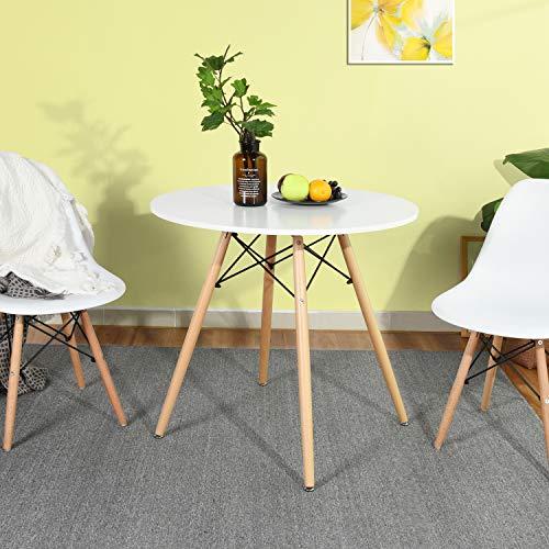 buybyroom Table de Salle à Manger Ronde Scandinave, Table de Cuisine avec Pieds en Hêtre, pour 2 à 4 Personnes, HxD: 74 x 80 cm, Blanche