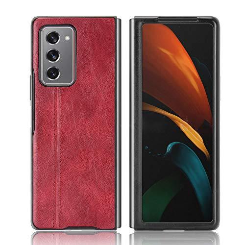 MIFanX Custodia Samsung Galaxy Z Fold 2 5G,Alta qualità PU Cuoio Backplane[Rigido PC Base]&Morbida TPU Cornice Case Cover per Samsung Galaxy Z Fold 2 5G(Rosso)