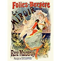 Cheret Folies-bergere Mirror Nouveau Advert Extra Large XL Wall Art Poster Print ヌーボー広告壁ポスター印刷