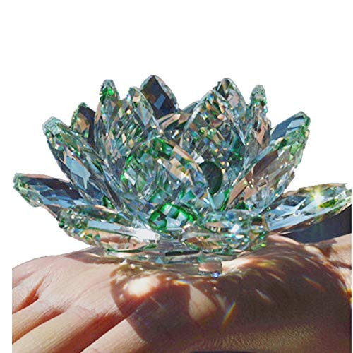 TYGJB Fine Quartz Cristal Verre Fleur De Lotus Pierres Naturelles et Minéraux Feng Shui Sphères Cristaux Fleurs pour Souvenirs De Mariage (Vert)