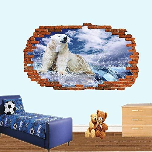 Wandtattoo POLAR BEAR ON ICE OCEAN SMASHED 3D WALL STICKER RAUM DEKORATION AUFKLEBER MURAL