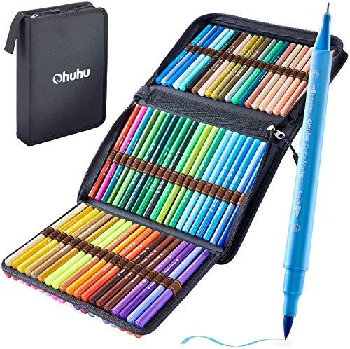 Filzstifte Ohuhu, 80 Farben Dual Brush Pens, Pinselstifte für Aquarell Handlettering, Kalligraphiezeichnung Skizzieren Kolorieren Bullet Journal, Fineliner stifte