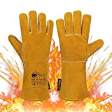 SAFTA Extreme Heat & Fire Resistant Gloves, Kevlar Thornproof Thickening Gauntlets for Welding (TIG, MIG, ARC) , BBQ, Grill, Oven, Stove, Pot Holder, Fireplace, Animal Handling