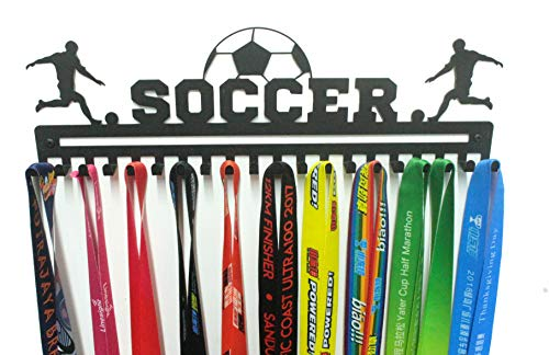 URBN Unique Metal Wall Mount 'Soccer' Sports Medal Hanger and Lanyard Ribbon Display Holder Rack with 20 Easy Hanging Hooks & Simple Install, Great Gift for Kids (Boy) - Black