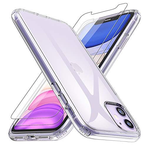pas cher un bon Coque Losvick pour iPhone 11, verre trempé en deux parties, coque en silicone TPU souple, transparente…