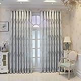 M&W DAS DESIGN Cortina de hojas Jacquard Store cortina semitransparente tela gasa cortina cortina cortina cortina cortina cortina cortina suave 140 x 245 cm (ancho x alto) cm gris (1 pieza)