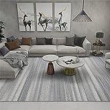 Kunsen tapetes para Sala Diseño de Rayas Azul Beige Gris Pelo Corto Alfombra Grande 180X250cm