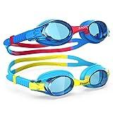 ZABERT K20 2er Pack Schwimmbrille für Kinder, Antibeschlag UV-Schutz, für Kinder Alter 3-12 Jahre (#30.K20 Blau + Rot)