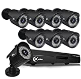 XVIM (No HDD) 1080P H.264 Home Wired Security Cameras System, 8CH 1080P HD DVR 8pcs 1080P 1920TVL Outdoor Indoor Waterproof Surveillance Cameras with Live Viewing 85FT Night Vision